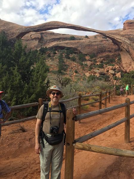 Landscape arch and tourist
