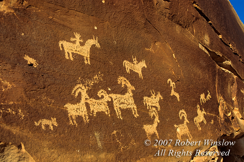 Ute Petroglyphs, Arches National Park, Utah, USA, North America