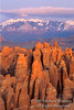 La Sal Mountains seen behind and above Fins of the Fiery Furnace Area, Arches National Park, Moab, Utah, USA, North America