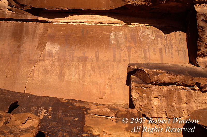 Pictographs and Petroglyphs, Court House Wash, Arches National Park, Moab, Utah, USA, North America