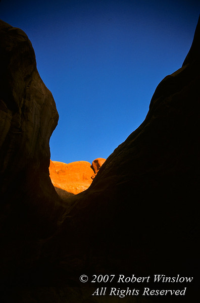 Sunset on Sandstone Wall, Arches National Park, Moab, Utah, USA, North America