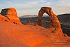 Sunset, Delicate Arch, Arches National Park, Moab, Utah, USA, North America