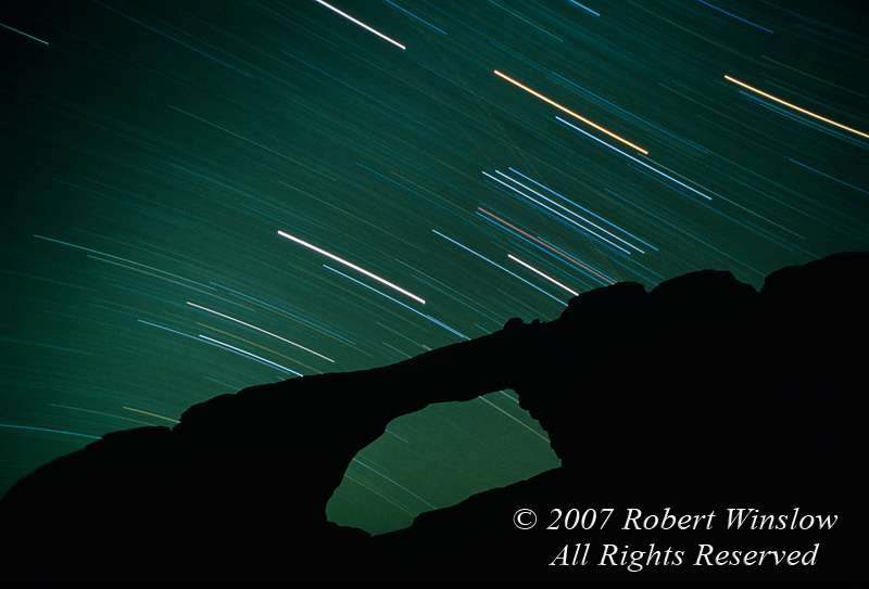 Star Trails (Orion), One Hour Exposure, Skyline Arch, Arches National Park, Utah, USA, North America