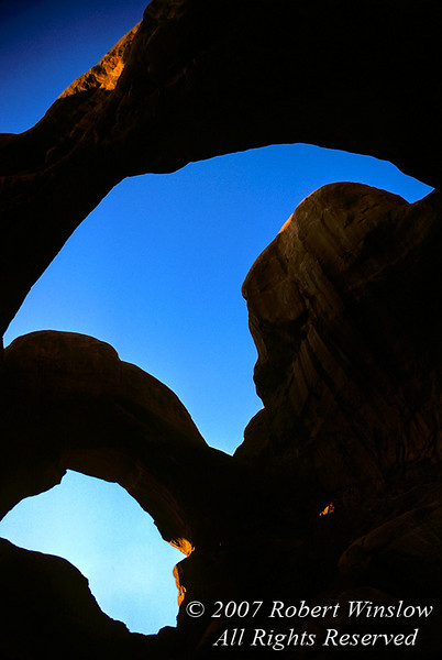 Sunset, Double Arch, Arches National Park, Moab, Utah, USA, North America