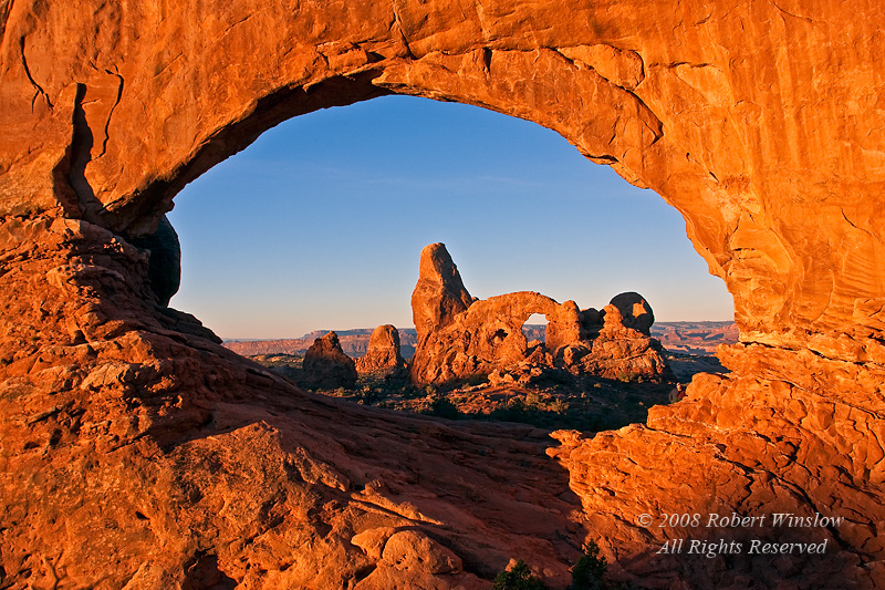 Sunrise, Turret Arch seen Through North Window, Arches National Park, Moab, Utah, USA, North America