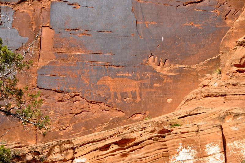 Indian Petroglyphs outside Moab, Utah.