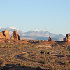 Windows Section of Arches National Park with La Sal Mountains in rear.