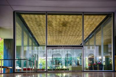 Crown Zellerbach Building 1959 features a see through lobby.
