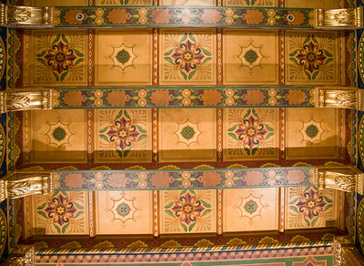 Restored painted ceiling at 111 Sutter, the sight for Dashiell Hammett novels