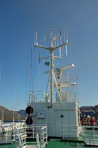 The radio mast on Deck 7. In the deckhouse was a conference room, not used, and presumably for scientists.