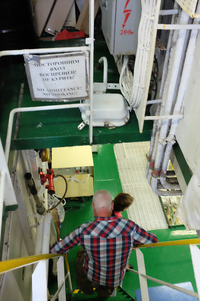 Normally off limits, we are led down to the engine room.