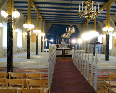 Church interior in Nanortalik, Greenland's southernmost settlement.