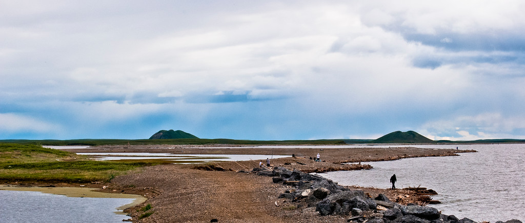 The Arctic Ocean and the two Pingos, Tuktoyaktuk