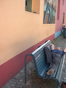 and tried to sleep on benches everytime we stopped,