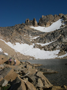 Alpine Lake: The pass is behind the lake and up to the left.