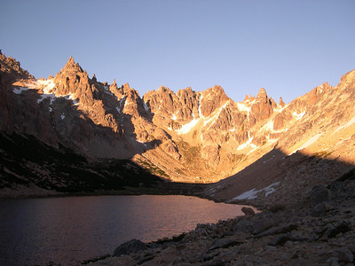 Morning light back towards the pass, we will be climbing over the ridge going up the far right c