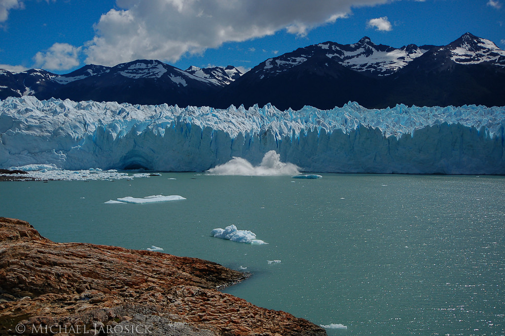 I waited patiently with camera ready to catch the splash of an iceberg calving from the glacier.  Got it!