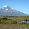 Lanin Volcano peak towers above Rio Malleo.<br /> Wednesday January 16, 2013