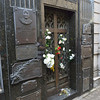 "Tomb of Eva ""Evita"" Peron who is buried 27 feet below in her Duarte family mausoleum in Recoleta Cemetery."