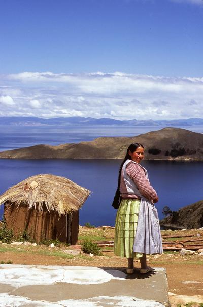 Woman in Lake Titicaca, Bolivia