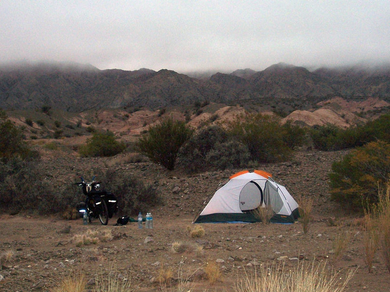<h3>My pleasant campsite north of Talacasto.  Time: 8:30 a.m.  Temperature 54 degrees.  No wind (yet).</h3>