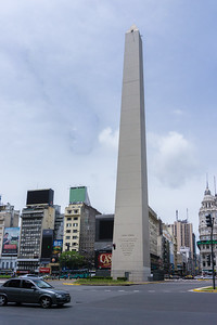 The obelisk (Obelisco de Buenos Aires) in downtown Buenos Aires.  It a national historic monument and icon of Buenos Aires. It is located in the Plaza de la República, at the intersection of avenues Corrientes and 9 de Julio, it was erected in 1936 to commemorate the fourth centenary of the first foundation of the city.