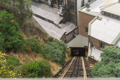 On one of the funicular railroad in Valparaiso.