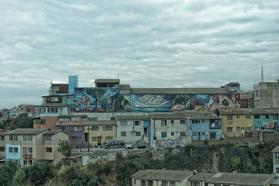 View of Valparaiso houses showing some of the wall paintings