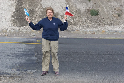 Me with one foot in Chile and one in Argentina
