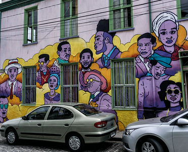The wall paintings of Valparaiso are colorful and varied.