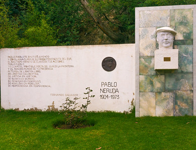 A tribute to Nobel laureate Pablo Neruda next to the tribute to fellow Nobel laureate Gabriela Mistral in Quinta Vergara Park in Vina Del Mar, Chile.  Neruda received the Nobel Prize in 1971.