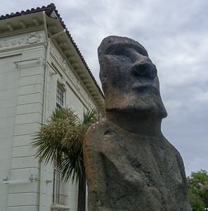 In front of the Fonck Museum is a large moai (Easter Island statue made of volcanic rock), the only one in mainland Chile.