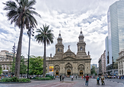 Metropolitan Catheral showing the old and the new in the Plaza de Armas
