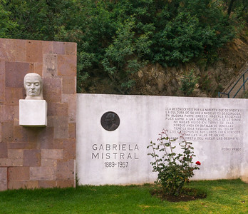 A tribute to Nobel laureate Gabriela Mistral in Quinta Vergara Park in Vina Del Mar, Chile.  Gabriela Mistral is the first Latin American woman to receive the Nobel Prize in Literature, which she did in 1945.