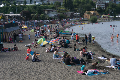 The beach at Puerto Varas on the shore of Llanquihue Lake, the second largest lake in Chile.  Puero Varas is know for its German traditions, its natural environment, and its popularity as a tourist destination