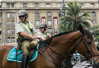 Mounted police patroling the Plaza de Armas.