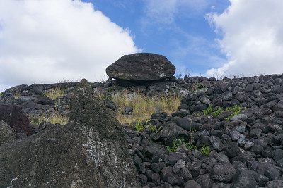 Part of another toppled moai body at Akahana.