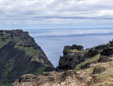 View of the Pacific from Rano Kao volcano's crater lake.