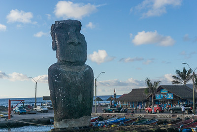 A moai in the harbor at Hanga Rao.