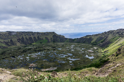 Veeiew of the Rano Kau looking out toward the sea.