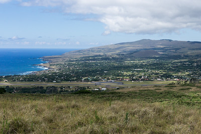 View of Hanga Roa from the hills near Orongo.  Hanga Roa is the administrative capital of Rapa Nui.