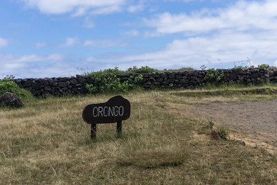 Orongo is a stone village and ceremonial center at the southwestern tip of Easter Island (Rapa Nui) on the high southwester tip of Rano Kau, the large volcanic caldera.  It consists of a collection of low, sod-covered, windowless, round-walled buildings with even lower doors.
