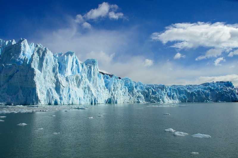 Looking north from the southern end of the termination of the glacier in the Lago Argentino.