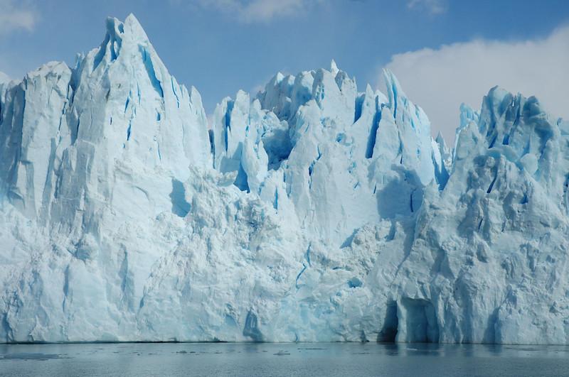 Up close to the face of the Perito Moreno Glacier where it terminates in Lago Argentino.