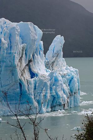 The narrow passage between the Perito Moreno Glacier and the Magellan Peninsula. Los Glaciares National Park, Patagonia, Argentina