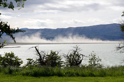 A sand storm near Roca Lake, the south arm of Lago Argentina in southern Patagonia, Argentina