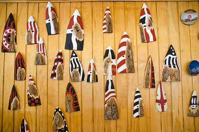 Arrow shaped masks in a coffe shop in Cerro Castillo on the Chilean side of the border to Argentina, South Patagonia,