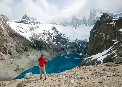 John and blue lake, Laguna de los Tres, El Chalten, Argentina