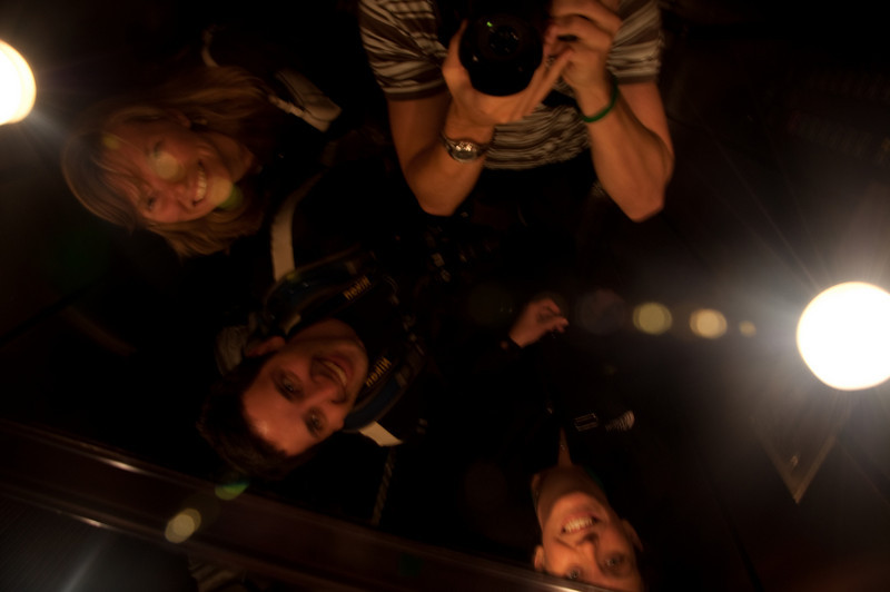 This one didn't come out as good as I'd hoped, but a fun shot looking up at the mirror on the elevator in Hotel Etolie.