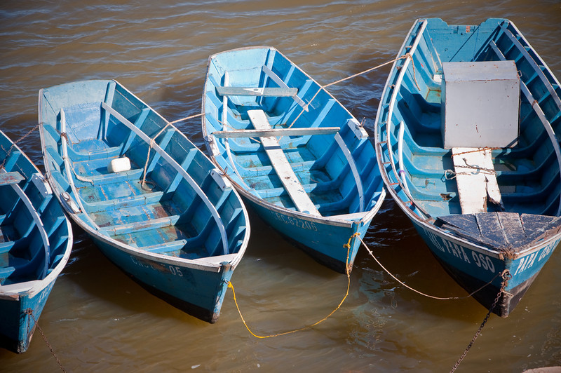 Foar boats on the water of Corrientes.